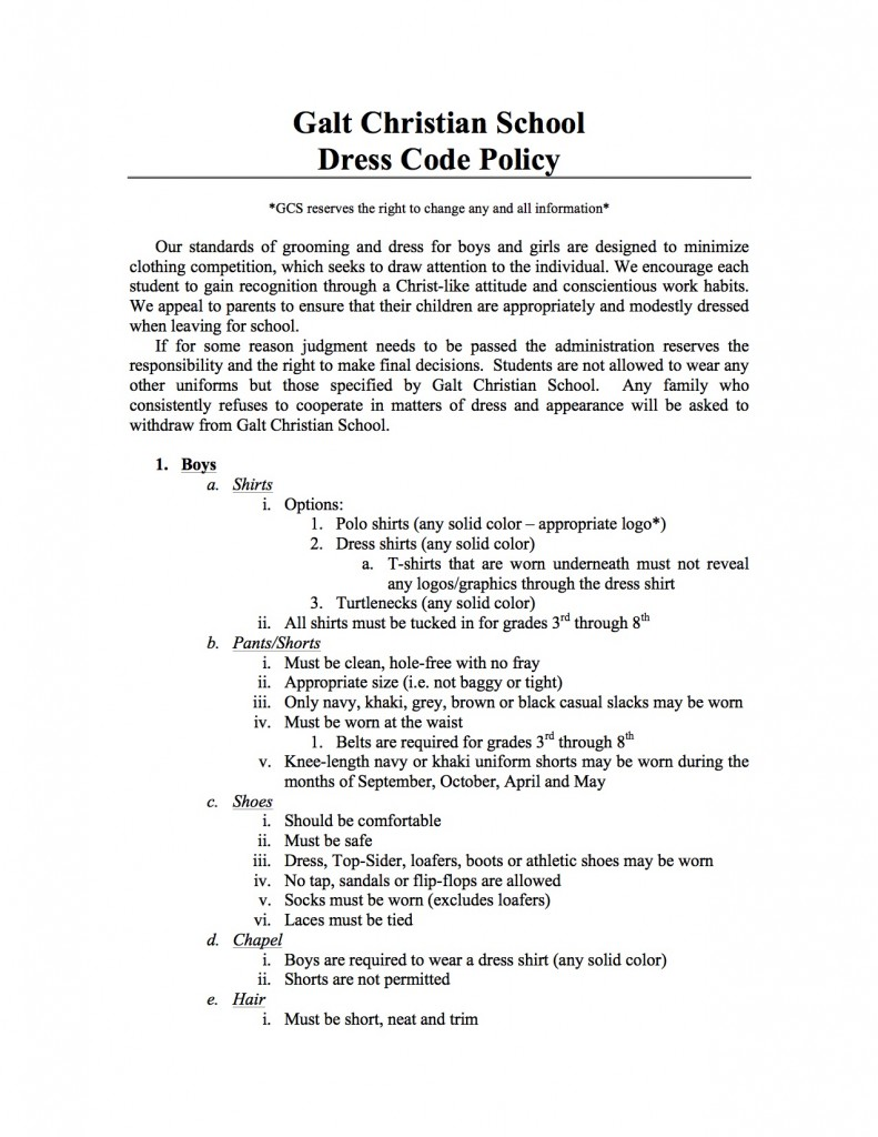 Updated Dress Code Policy Page 1